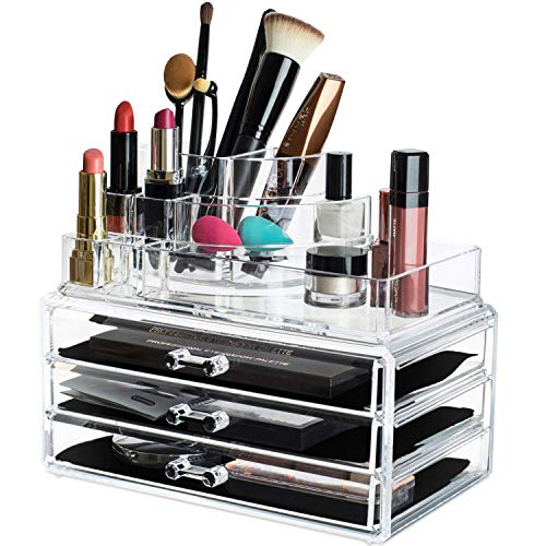 Kryllic Makeup Cosmetic Storage Organizer - 3 Case Drawer with 8 slot organizers for brush palette lipstick lipgloss pens make up nailpolish lotion and creams holder! Countertop box tray drawers for b