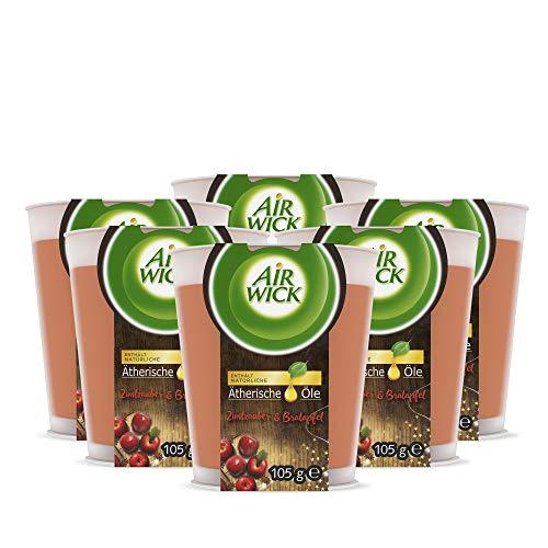 Air Wick Wohlfühl-Duftkerze im Glas – Duft: Zimtzauber & Bratapfel – Enthält natürliche ätherische Öle – 6 x Duftkerze in Weiß