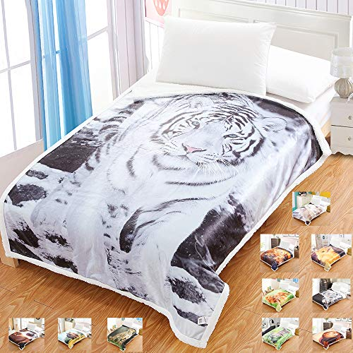 Home Sherpa Decke Flanell Fleece Digitaldruck Wende-Decke Superweiche, leichte Decke Warme Ganzjahresdecke aus Mikrofaser für Bett oder Couch, weißer Tiger, 51
