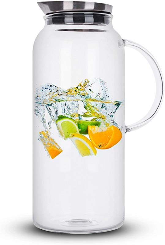68 Ounces Glass Pitcher With Lid Hot Cold Water Carafe Juice Jar And Iced Tea Pitcher