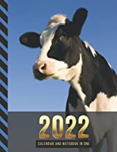 2022 Calendar and Notebook In One: Black White Cow Photo / 8.5x11 Monthly Planner with Note Paper Combo / Large Organizer ...