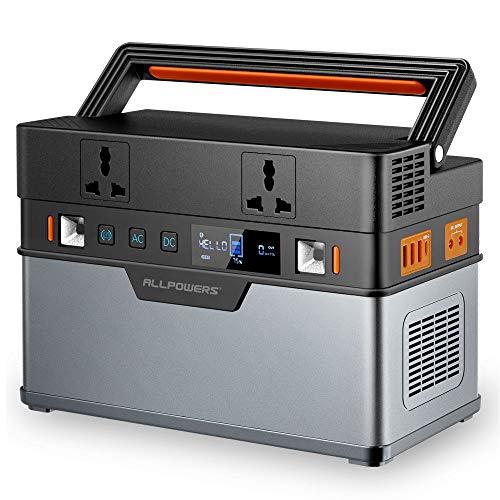 ALLPOWERS Generador portátil de 606 Wh / 164000 mAh, fuente de alimentación de emergencia, onda sinusoidal pura con inversor DC/AC para camping, uso doméstico, autocaravana, exterior