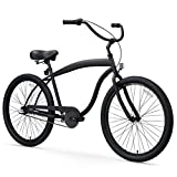 sixthreezero Men's in The Barrel 3-Speed Beach Cruiser Bicycle, Matte Black w/Black Seat/Grips, 26' Wheels/ 18' Frame