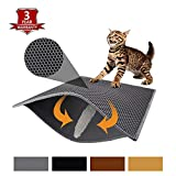 Pieviev Cat Litter Mat Litter Trapping Mat, 30' X 24' Inch Honeycomb Double Layer Design Waterproof Urine Proof Trapper Mat for Litter Boxes, Large Size Easy Clean Scatter Control (Grey)