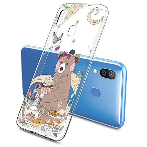 Oihxse Mode Case Compatible pour Samsung Galaxy J7 Prime/ON7 2016 Coque Transparent Silicone Gel TPU Bumper Animal Motif Dessin Cover Ultra Mince Crystal Clear Antichoc Protection Couverture,Ours 1