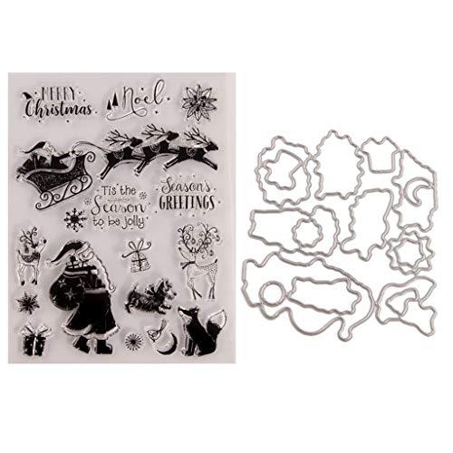 Lyguy sterft sjabloon, duidelijk stempel, Kerstman rijden Seal stempel met snijden Dies Stencil Set DIY Scrapbooking