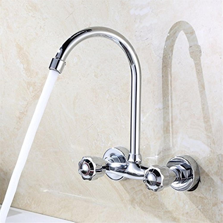ETERNAL QUALITY Badezimmer Waschbecken Wasserhahn Messing Hahn Waschraum Mischer Mischbatterie Der Kupfer-zu-Wand montiert Küche Wasserhahn warmes und kaltes Wasser Misch