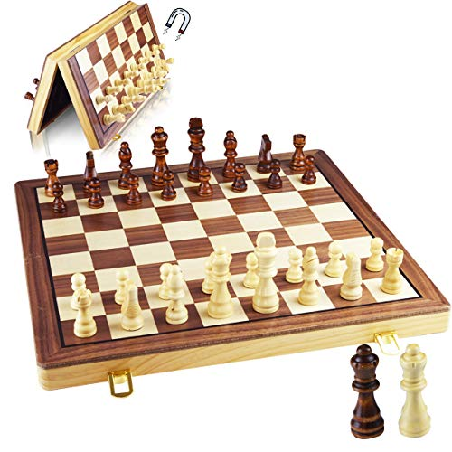 GYBBER&MUMU 15' X 15' Magnetic Chess Set Wooden Chess Board Game Set with Storage for Kids and Audlts