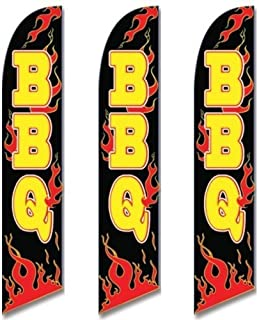 Three (3) Pack Full Sleeve Swooper Flags BBQ Black w Yellow Text & Red Flames