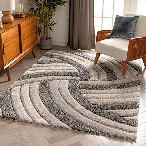 Well Woven San Francisco Ucci Grey Modern Geometric 3D Textured Thick and Soft Shag 3'11