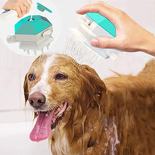 BIGFOX Cepillo de masaje para perros, 3 en 1, alcachofa de ducha, cepillo de baño para perros, rociador, peine para masaje, masaje al aire libre para perros y gatos