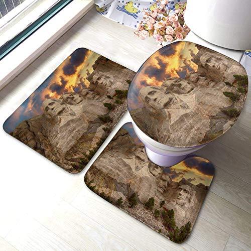 Mount Rushmore National Memorial Park Juego de alfombrillas de baño de franela...