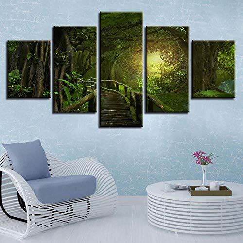 binghongcha 5 Partes Marco de Pintura artística Puente árbol de la Selva Tropical en el Bosque Tropical la decoración del Cuadros para dormitorios