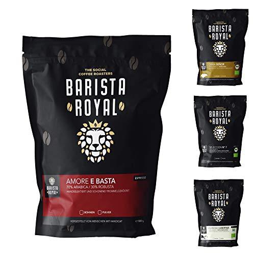 BARISTA ROYAL Espresso Bohnen Probierset 4 x 350g Espressobohnen | Entdeckerpaket / Probierpaket | Robusta & Arabica | Ideal für Vollautomat und Siebträger