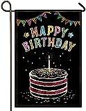 Atenia Happy Birthday Cake Burlap Garden Flag, Double Sided Dark Birthday Garden Outdoor Yard Flags (Garden Size - 12.5X18)