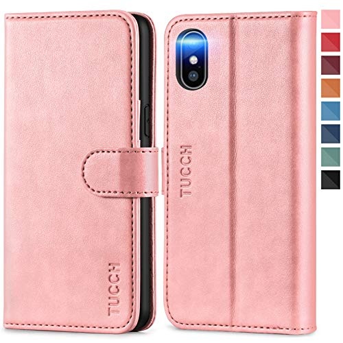 TUCCH iPhone Xs Wallet Case, Wireless Charging Flip PU Leather Stand Cover RFID Blocking Card Holder, Magnetic [Auto Wake/Sleep] [TPU Shockproof Inner Case] Compatible with iPhone Xs, Rose Gold