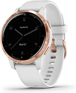 Garmin Vívoactive 4S, Smaller-Sized GPS Smartwatch, Features Music, Body Energy Monitoring, Animated Workouts, Pulse Ox Sensors and More, Rose Gold with White Band