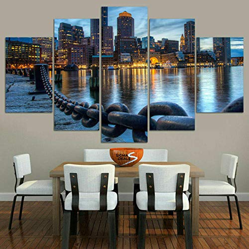 TOPRUN Canvas Picture -5 Piece Abstract Boston City Harbor River 150x80cm -5 Part Panels -Ready to Hang - wall art print -Completely framed - Image printed -art on canvas - Art print Images