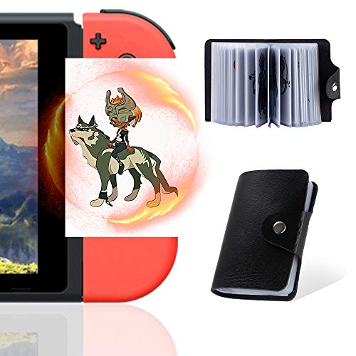 NFC Cards for The Legend of Zelda Breath of The Wild Botw Switch Wii U con oggetti a goccia sul retro della carta, 24 pezzi con porta carte (ZLD-Standard Size)
