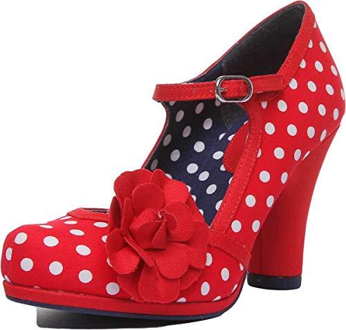 Ruby Shoo Damen Schuhe Hannah Vintage Polka Dot Blume Pumps Rot Geschlossen 38