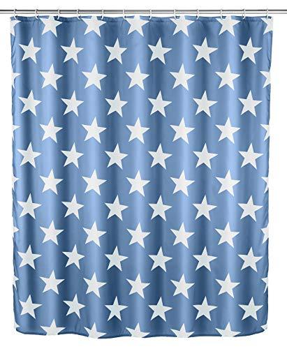 WENKO Anti-Schimmel Duschvorhang Stella Dunkelblau - Anti-Bakteriell, Textil, waschbar, wasserabweisend, schimmelresistent, mit 12 Duschvorhangringen, Polyester, 180 x 200 cm, Dunkelblau