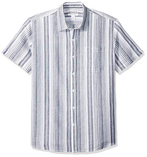 Amazon Essentials Men's Regular-Fit Short-Sleeve Linen Cotton Shirt, Navy Stripe, Medium