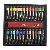 SHOTAY Juego de pintura acrílica de 24 colores, 24 colores, 12 ml, pinturas acrílicas no tóxicas, perfectas para pintura de lona, madera de roca para niños y adultos artistas