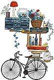Decoración de la pared Pegado de paredCreativeRegivo Retro Bicicleta Pegatinas de Pared Decorativas Dormitorio Cálido Sala de Estar Corredor Pórchido Muro Agotesivo Papel Tapiz Pegatinas