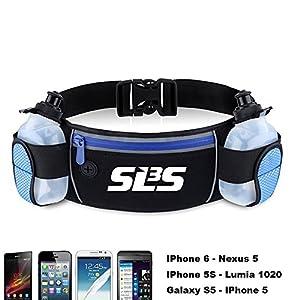 SLS3 Hydration Belt - Running Water Bottle 12 oz - Fuel Belts for Runners - 2 Bottles Run Jogging Waist Pack - Fits Phones