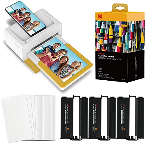 """Kodak Dock Plus Portable Instant Photo Printer, Compatible with iOS, Android & Bluetooth Devices, Real Photo (4""""x6""""), 4Pass & Lamination Process, Premium Quality - Convenient and Practical–120 Sheets"""