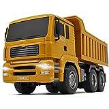 PBTRM Teledirigido Camión Volquete, RC Vehículo Juguete Construcción 1:18, Volquete Control Remoto Seis Canales 2,4 GHz con Simulación Luz LED Regalo para Niños
