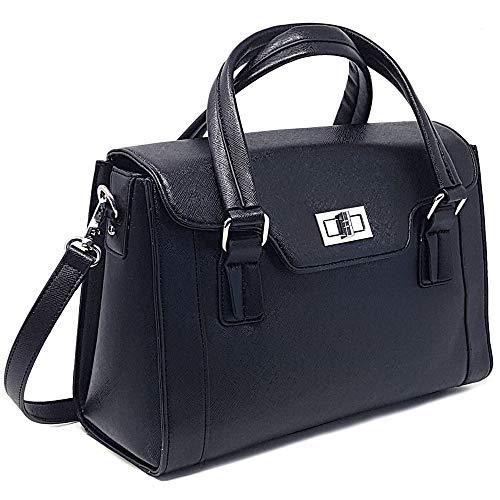 Kameratasche für Damen, Multifunktionale Ledertasche mit Tragegriff und abnehmbarer gepolsterter Tasche, Dickes Schwarz, Medium