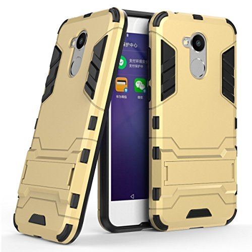 Hülle für Huawei Honor 6A / Honor6A Pro/Honor 5C Pro/Honor Holly 4 (5 Zoll) 2 in 1 Hybrid Dual Layer Shell Armor Schutzhülle mit Standfunktion Hülle (Gold)