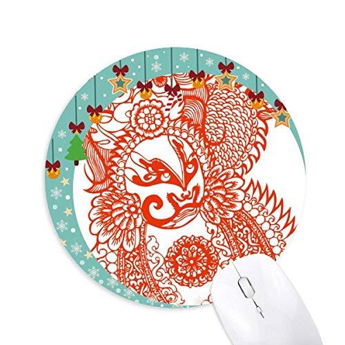 Rote Opera Maskiert Papier-Schnitt Muster Maus Pad Jingling Bell Rund Gummi Mat