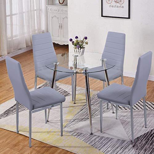 GOLDFAN Esszimmergruppe mit Glass Esstisch und 4 Essstühlen Glastisch und Grau Stuhl Runder Tisch für Wohnzimmer Küche
