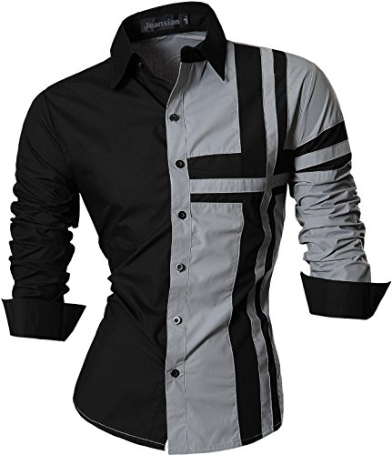 jeansian Herren Freizeit Hemden Shirt Tops Mode Langarmshirts Slim Fit Z014 Gray XXL