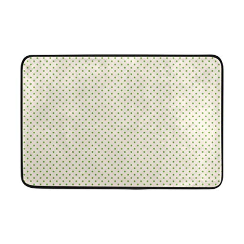 FANTAZIO deurmatten voor ingang weg buiten Kleine groene stippen gebied tapijt Rechte tapijt Gripper Voor keuken/badkamer 23.6x15.7in