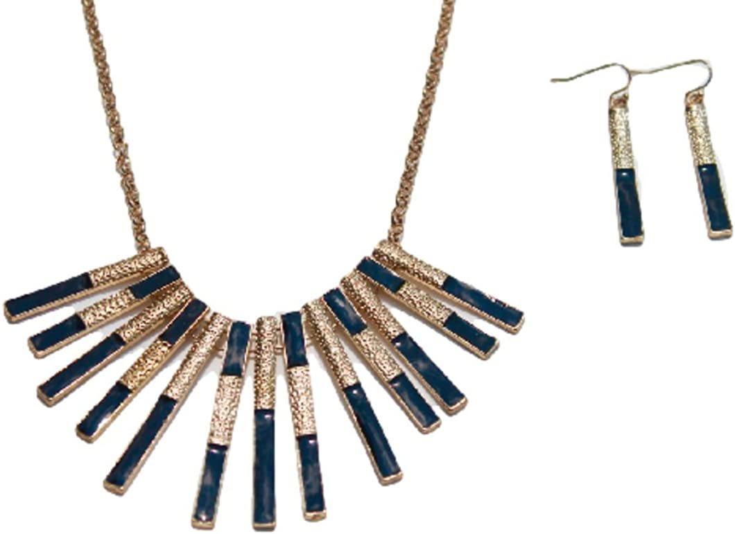 Black and Gold Tone Statement Collar Necklace with Matching Earrings Set