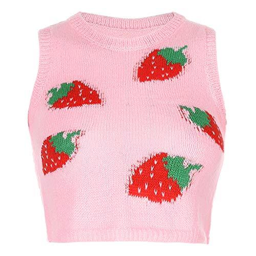 Pullover Damen Rundhals Erdbeere Drucken Strickpullover Sweatshirt Pullunder Strickweste Warm Top Lässige Schlank Tunika Bluse Shirt Oberteil Kleidung