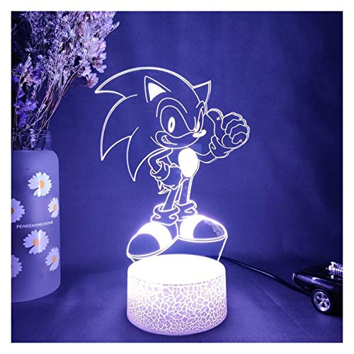 Ysguangs Luz de Noche 3D Sonic 3D Nightlight Visual Illusion LED RGB Cambiando Sonic The Hedgehog Action Figure Novelty Light Kids Regalo (Color : 7 Color no Remote, Emitting Color : Lava Lamp Base)