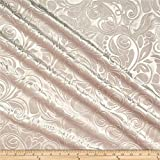 Unique Quality Fabrics Embossed Velvet Scroll Fabric, Blush, Fabric By The Yard