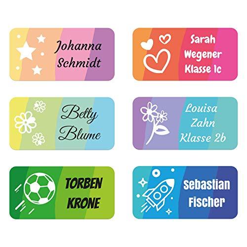 foliado® Namensaufkleber Kinder bis zu 3-zeilig Etikett 30x15mm Sticker Namensetikett Schule Kita personalisierte Klebeetiketten zur Kennzeichnung wasserfest APD-004 (60)