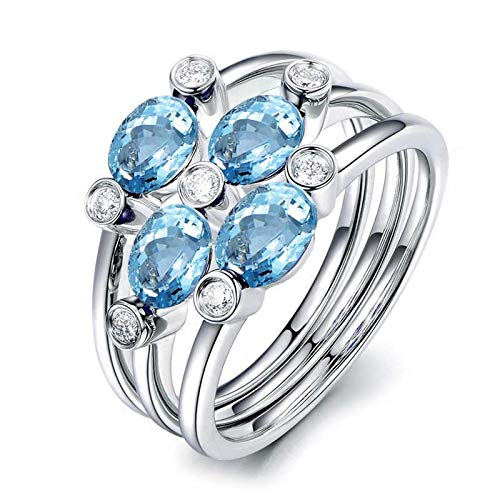 Adokiss Jewellery Rings Silver 925 Vintage Flowers 3 x 5 mm Blue White Topaz Silver Anniversary Gifts Birthday Gift for Women Birthday Gift Best Friend Silver Blue
