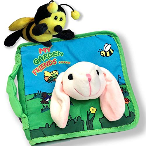 Plush Stuffed Toy Bee & Bunny Rabbit Cloth Book Baby Gift, Soft Books for Newborn Babies, 1 Year Old & Toddler, Educational Toy for Boy & Girl, Activity, Crinkle Peekaboo, Baby Shower
