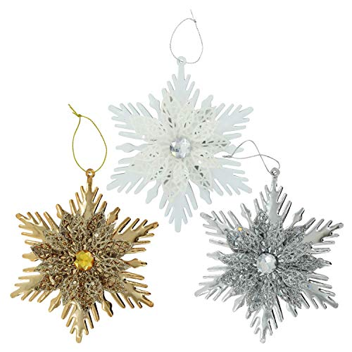 Christmas Decorations Glittery Metal Snowflake Ornaments Celebrate a Holiday Tree Hanging Home Living Room Fireplace Indoor Decor Merry X-Mas School Church Wedding Party Decore Gold, Silver & White