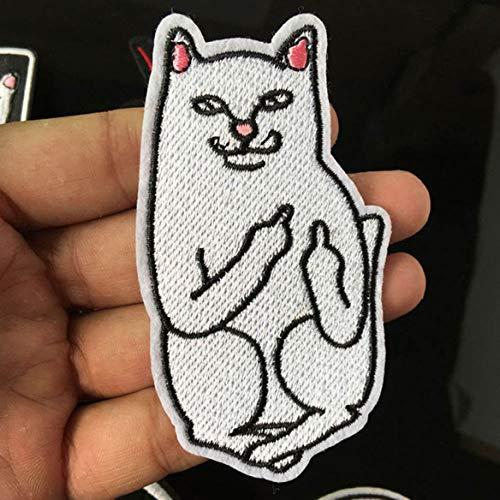 pinruitai Kostengünstige Katze mit dem Finger Patch zum Aufbügeln Aufnähen Applikation Kleidung Schuhe Taschen Dekoration Patch Bekleidung Mittelfinger Katze Aufnäher für Zuhause Dekoration Cat.