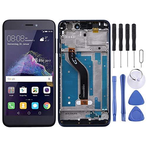 DINGXUEMEI Xuemei de Piezas de Repuesto de teléfono Pantalla LCD de reparación y reemplazo y ensamblaje Completo del digitalizador con Marco for Huawei P8 Lite (2017) (Negro) (Color : Blue)