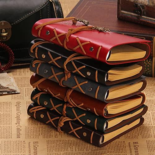 MALAT Diario De La Vendimia Cuaderno De Viajeros Cuaderno De Cuero A5 Cuaderno De Bocetos De Papel Kraft Diario Cuaderno En Blanco 6 Anillas De La Carpeta