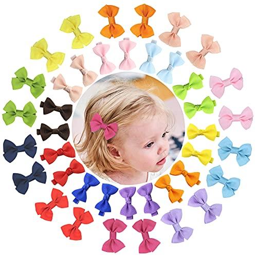 VEGCOO 40 Piezas Lazos Pelo Bebe Niña, Horquillas Clips Cinta para el Cabello de Color Mixto, Accesorios para el Cabello para Bebé Niña (A)