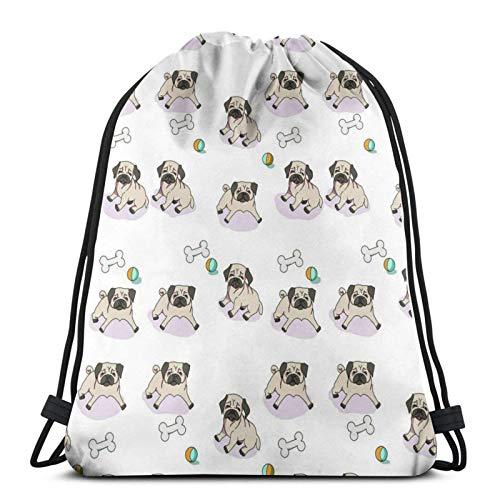 985 Zuziehbeutel Mops Hundespielzeug Drawstring Bags Robuster Turnbeutel Einstellbar Sport Beutel Für Turnhalle Damen 36X42 cm